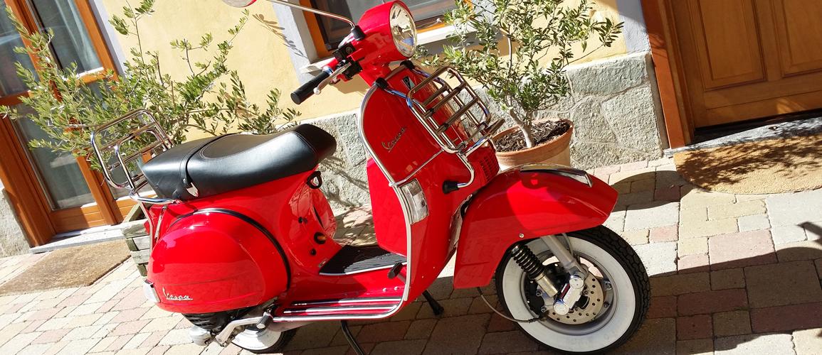 Riding a Vespa in Piedmont, Italy